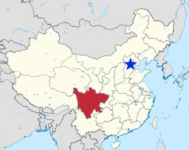 the red blob is sichuan--the blue star is beijing (and the great wall area!)