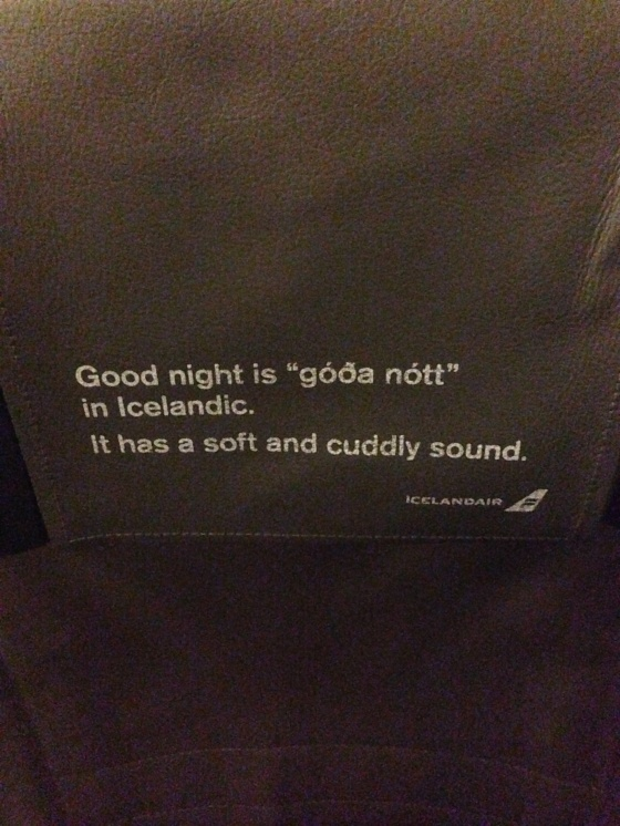 Icelandic Air's little nugget to inspire sleep. Mostly it inspired everyone on the plane to try to speak Icelandic.